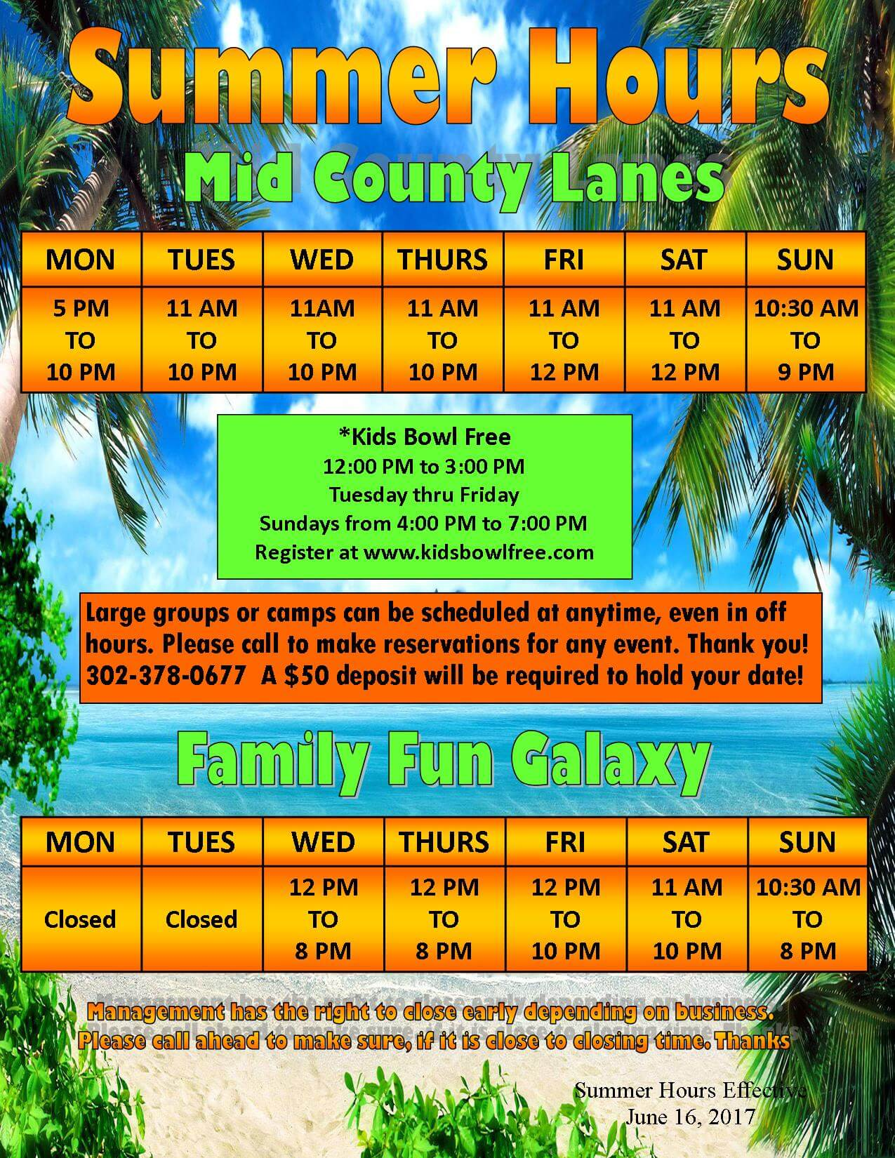mid county bowling summer hours