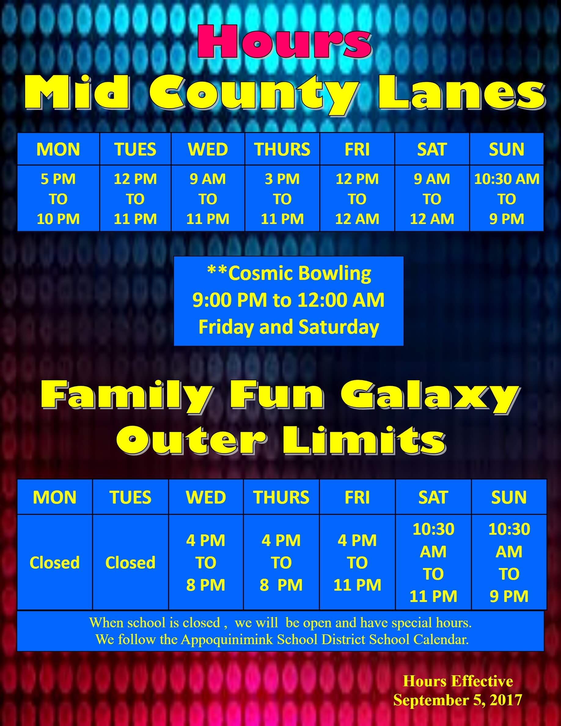 Mid County Lanes Fall Hours