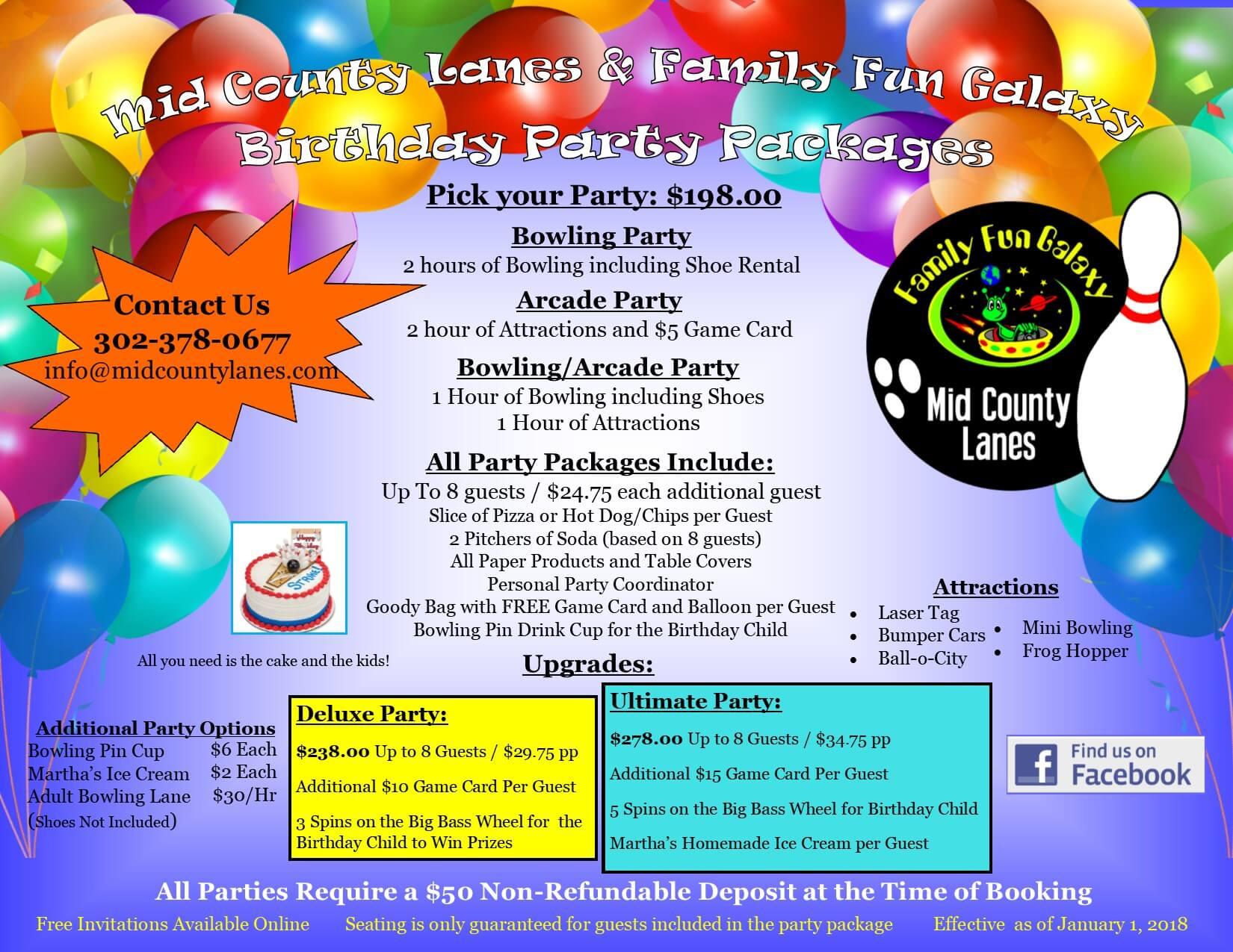 Prty Brochure | Kids Birthday Parties In Middletown De Bowling Alley