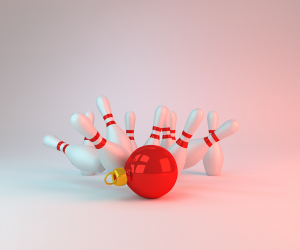 bowling pins knocked down by a Christmas ornament