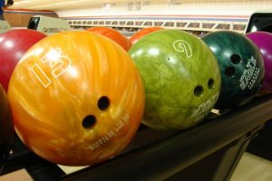 Multiple colored bowling balls