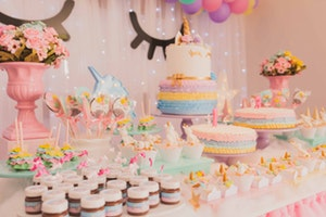 Colorful unicorn birthday tablescape